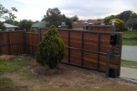 Steel Frame Fence with Merbau Screening