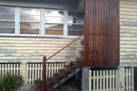 Spotted Gum Steps with Stainless Steel Wire Balustrading