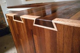 Handmade Kitchen Benchtop with Silky Oak Dovetails