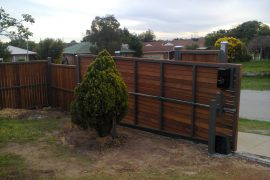 Steel Frame Fence with Merbau Screening